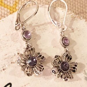 Dainty Silver-tone Drop Flower Purple Crystals